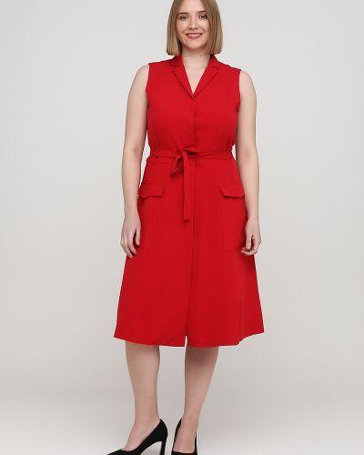 Красное платье макси с поясом без рукавов Nife