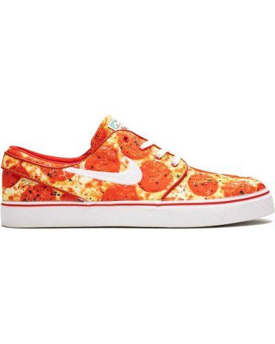 Хлопковые оранжевые кеды на шнуровке Nike
