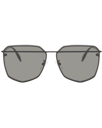 Кожаные черные солнцезащитные очки прозрачные Alexander Mcqueen