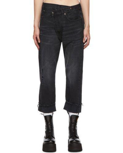 Черные джинсы с манжетами стрейч с заплатками R13