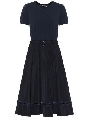 Костюмное темно-синее платье миди из вискозы Moncler