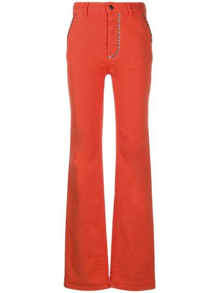 Красные джинсы классические с высокой посадкой стрейч Just Cavalli