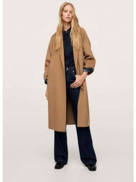 Коричневое пальто на подкладке Mango