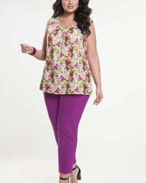 Блузка без рукавов с цветочным принтом прямая прима линия