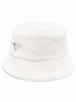 Biały kapelusz srebrny Prada