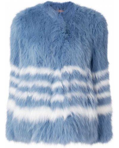 Синяя длинная шуба Yves Salomon