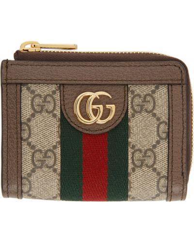Skórzany portfel w paski z gniazdem z łatami Gucci
