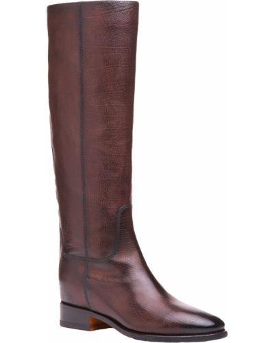 Кожаные сапоги - коричневые Santoni