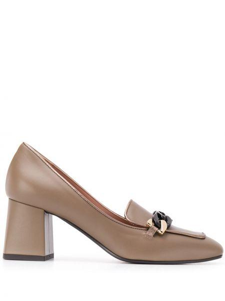Туфли на каблуке - коричневые Pollini