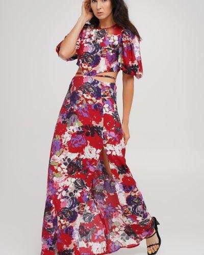 Красное платье макси в цветочный принт Anna Yakovenko