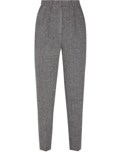 Зауженные шерстяные серые брюки с защипами Laroom