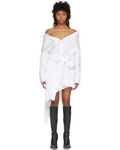 Короткое белое платье на бретелях из поплина Alexander Wang