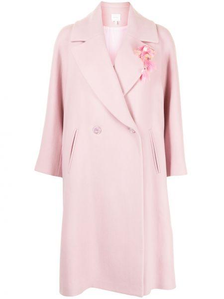 Różowy długi płaszcz wełniany z długimi rękawami Delpozo