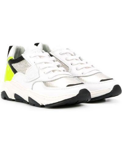 Нейлоновые белые кроссовки с заплатками на шнуровке Philippe Model Kids