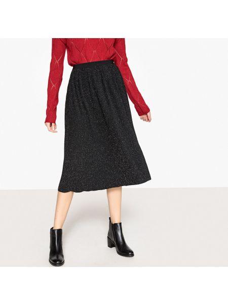 Плиссированная черная ажурная юбка миди в рубчик See U Soon