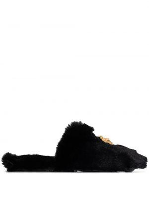 Домашние черные домашние тапочки на каблуке Versace