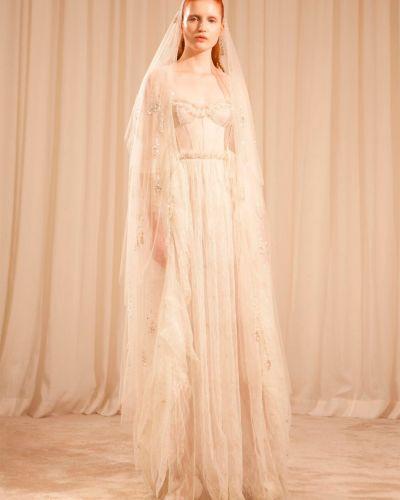 Biała sukienka koronkowa bez rękawów Sandra Mansour