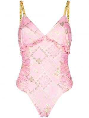 Розовый купальник с V-образным вырезом на бретелях Loveshackfancy