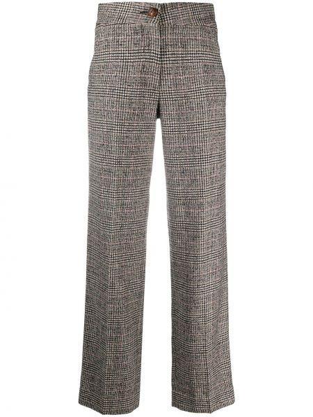 Шелковые коричневые брюки на пуговицах с высокой посадкой Blazé Milano