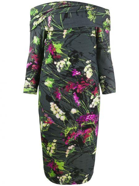 Платье миди с цветочным принтом зеленый Blumarine