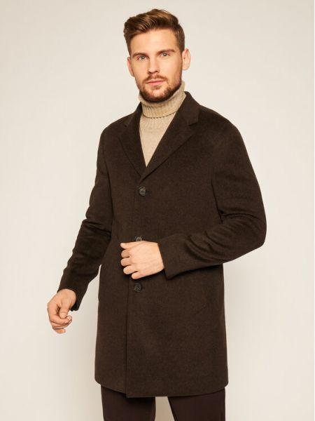 Płaszcz wełniany - brązowy Oscar Jacobson