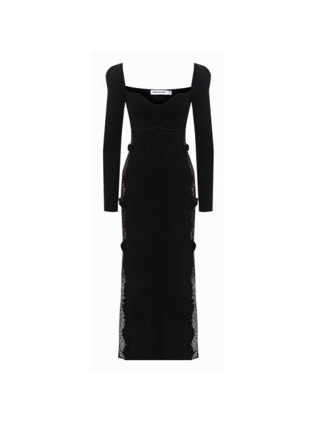 Платье миди из вискозы с подкладкой с декоративной отделкой Self-portrait