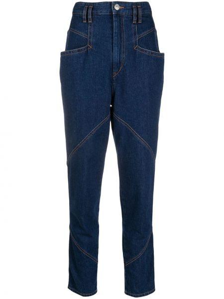 Bawełna bawełna niebieski jeansy na wysokości z kieszeniami Isabel Marant