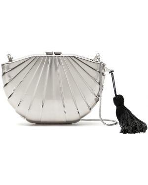 Серебряная сумка на плечо металлическая с подкладкой Isla