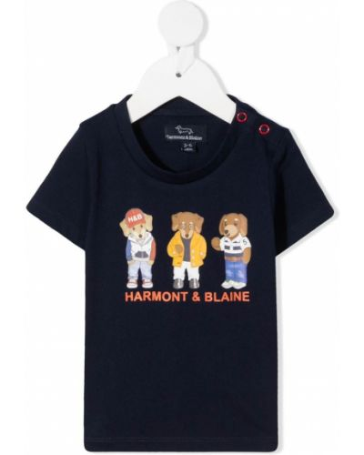 Хлопковая синяя рубашка с короткими рукавами круглая Harmont & Blaine Junior