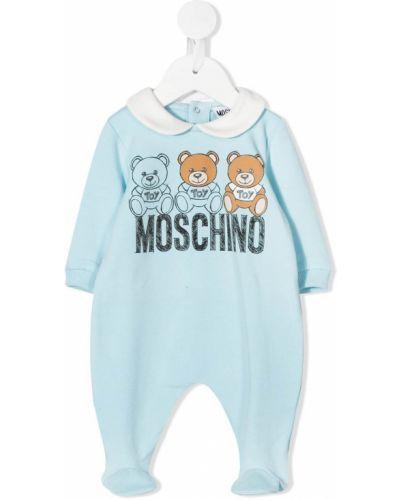 Синее с рукавами хлопковое боди с воротником Moschino Kids