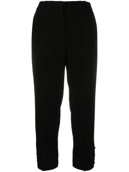 Черные укороченные брюки с поясом на пуговицах Mulberry