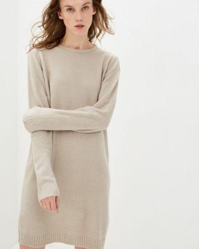 Бежевое трикотажное вязаное платье Sublevel