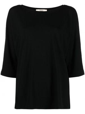 Прямая черная футболка с вырезом Odeeh