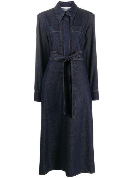 Синее джинсовое платье с поясом с воротником Stella Mccartney