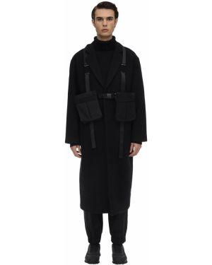 Czarny płaszcz wełniany klamry Iise