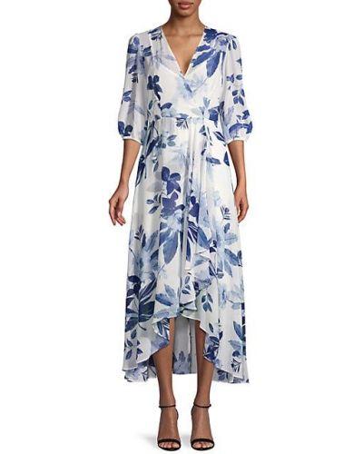 Асимметричное шифоновое синее платье миди Calvin Klein