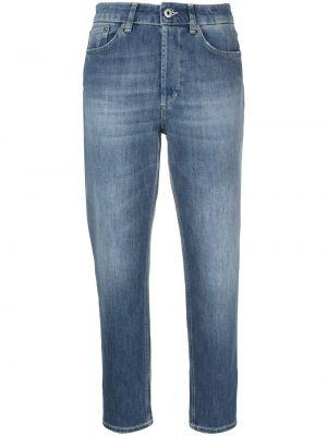 Прямые синие укороченные джинсы с высокой посадкой Dondup