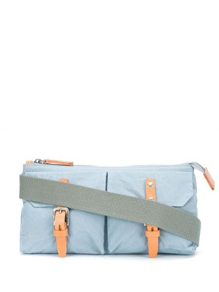 Кожаная синяя сумка мессенджер на молнии с карманами Ally Capellino