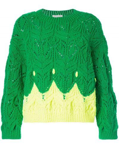 Зеленый с рукавами джемпер с вырезом Vika Gazinskaya