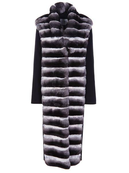 Черное свободное шерстяное пальто классическое с воротником Manzoni 24