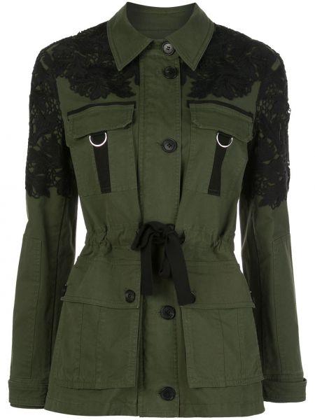 Зеленая куртка с поясом с воротником Veronica Beard