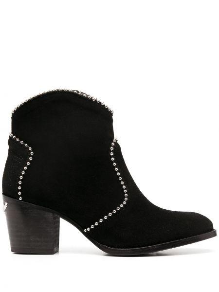 Кожаные черные сапоги без каблука на каблуке с острым носом Zadig&voltaire