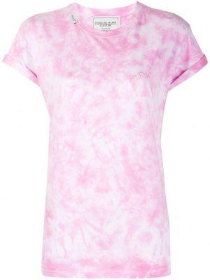 Różowy t-shirt bawełniany z haftem Forte Dei Marmi Couture