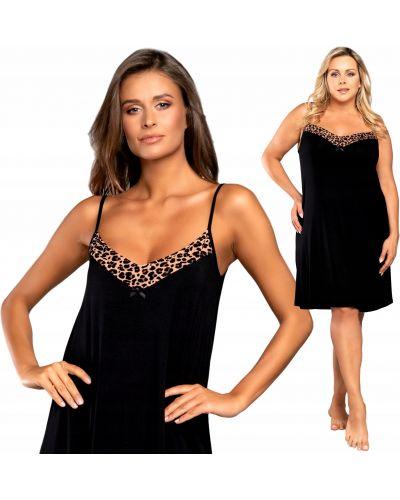 Czarna koszula nocna koronkowa krótki rękaw Italian Fashion