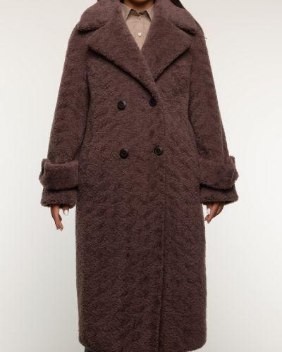 Коричневое шерстяное пальто с воротником Aliance Fur