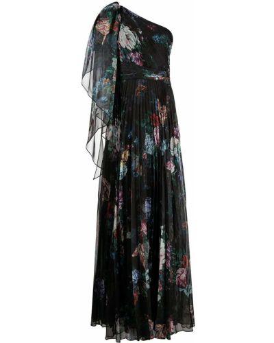 Вечернее платье с драпировкой - черное Marchesa Notte