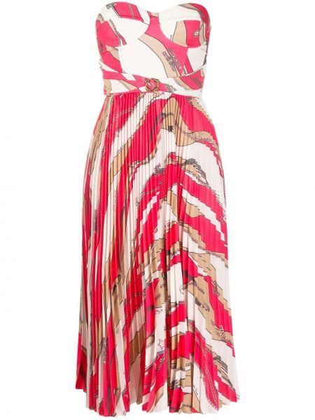 Платье макси в полоску бандо Elisabetta Franchi