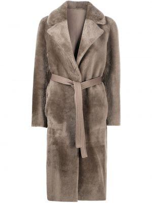 Серое кожаное длинное пальто с воротником Blancha