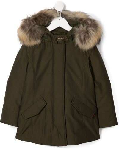 Зеленое длинное пальто с опушкой Woolrich Kids