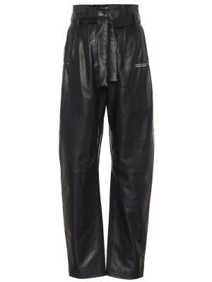 Czarny skórzany prosto spodnie Off-white